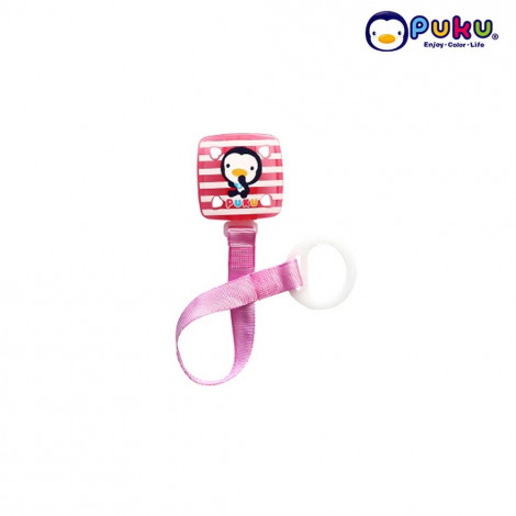 Puku Pacifier Chain 11114 Square Stripe - Pink