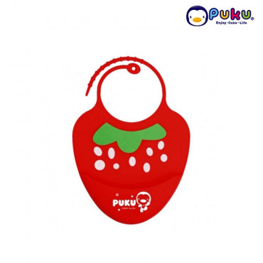 Puku Baby Silicone Bib - 14204 Red Stawberry