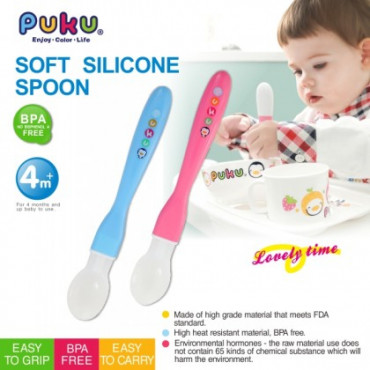 Puku Baby Soft Silicone Spoon 14316 - Pink