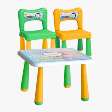 Puku Fantastic Table + 2 Chair 30502 - Yellow Green